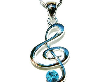 Blue Swarovski Crystal TREBLE G CLEF Love Music Musical Note Charm Pendant Necklace Christmas Gift new