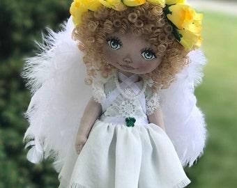 Playroom decore doll Textile doll Interior doll Souvenir doll  Cloth doll Handmade Guardian angel Doll Nice baby shower gift Doll Green Doll