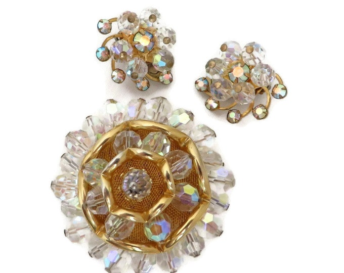Vintage Crystal Brooch & Earrings Set, Gold Tone Rhinestone Demi Parure