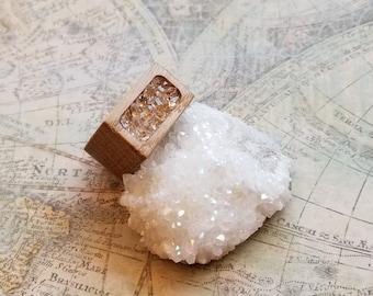 Large Wooden Herkimer Diamond Ring, Statement Ring, Womens Diamond Ring, Herkimer Statement Ring, Handmade Wood Ring