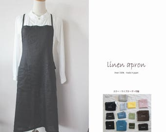 Linen apron black backcross linen 100% [MY BEST APRON]