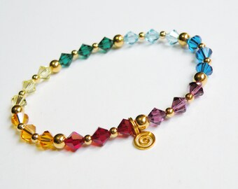 Gold Chakra Bracelet with genuine Swarovski Elements crystals 315.6