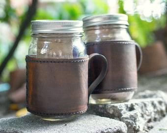 Rugged Leather and Glass Mason Jar Travel Mug