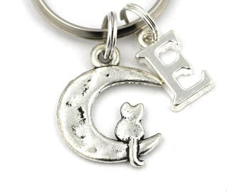 Cat Moon Key Ring, Personalized Cat On The Moon Keychain, Cat Keyring, Initial Keychain, Crescent Moon Keychain,Kawaii Keychain,Housewarming