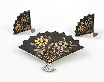 Amita Japan Brooch, Sterling silver Damascene Fan Earrings Silver Gold Daisy, Screw Back vintage jewelry