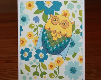 Cheerful and Bright Owl in the Flowers