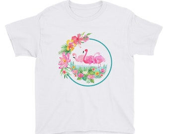 Pink Flamingo Kids Fun Summer Tee Youth Short Sleeve T-Shirt