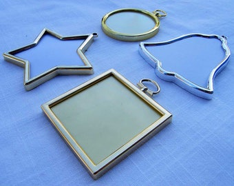 Christmas Decoration Frames. Gold or Silver Colour.  Square, Round, Star, Bell Tree Shapes.  Make your own Stitched Xmas Decorations.
