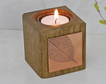 Copper and Oak Tealight Holder With Copper Leaf - Copper anniversary gift - by Louise Mary Designs