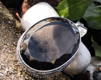 Large pendant in smoky quartz, silver 925 vintage baroque spirit : detoxifying and rebalancing stone