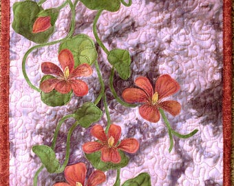 Floral Art quilt made with hand painted fabric, wall hanging, textile art  - Nasturtiums