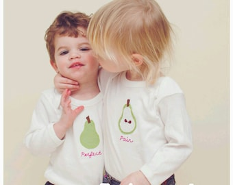 """Twin """"Perfect PAIR"""" Twin set of Bodysuits for TWINS (or siblings)"""