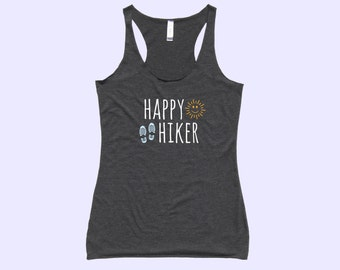 Happy Hiker (with sunshine smiley and hiking boots) - Fit Or Flowy Hiking Tank
