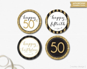50th Birthday Toppers Black Gold Glitter 50th Birthday Decor Printable Birthday Party Decor 50th Birthday Favor Tags Gift Tags Digital DIY