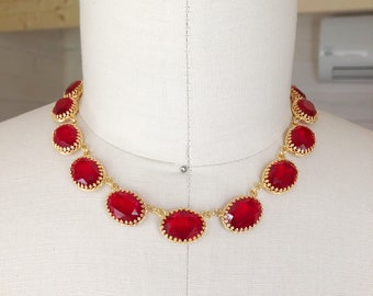 Anna Wintour Necklace, Ruby Crystal Collet, Riviere, Swarovski Necklace, Georgian Collet, Reproduction Georgian Necklace, Crown Setting, Red