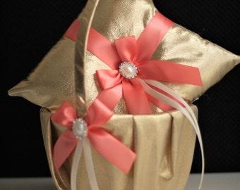 Coral Wedding Basket & Ring Bearer Pillow \ Gold Flower Girl Basket + Coral Wedding Pillow Set \ Gold Ring Bearer \ Coral Pillow basket set