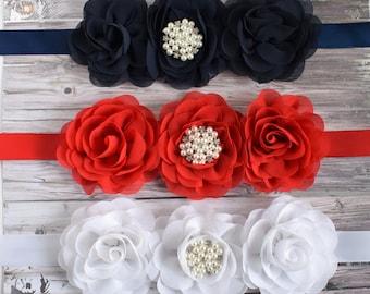 Navy Maternity Sash, Red Belly Sash, White Maternity Sash, Navy Blue Flower Sash, Red Flower Sash, White Flower Sash, Custom Boutique Sash