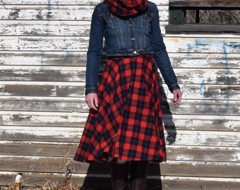 Plaid circle skirt with matching infinity scarf