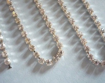 3mm Clear Rhinestone Chain - Silver Plated Setting -  Preciosa Czech Crystals