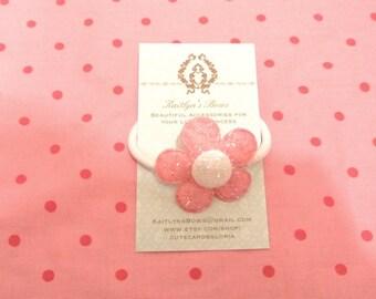 Sparkly pink flower hair tie