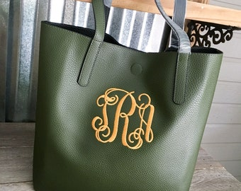 Tote/Large Mossy Green Faux Leather Tote with Monogram