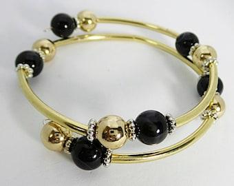 Gold and Black Memory Wire Wrap Bracelet, Wire Wrap bracelet, Women's Wire Wrap bracelet, Wrap bracelet, Beaded Bracelet