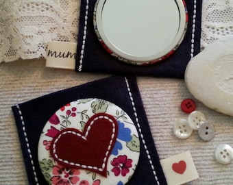 Gift for mum-Liberty Print Applique Heart Mirror and Pouch