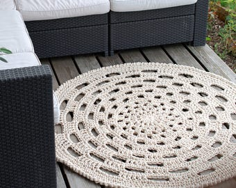 Big Round Rug for Deck - Cotton rope crochet rug - Natural oversized doily rug - Traditional crochet cotton rug
