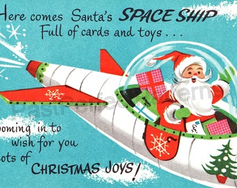 Digital Image  Santa in a Space Ship   Vintage Retro 1950s  Christmas Cards Scrapbook Holiday Gift Tags