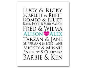 Customizable Wedding gift typography - Famous Couples Wedding Anniversary Memento - Custom Names - You Choose Pairings - Gift for couple