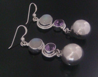 Harmony Ball Earrings with Moonstone and Amethyst Gemstones & Highly Polished 925 Sterling Silver Harmony Ball | 925 Silver Earrings 025