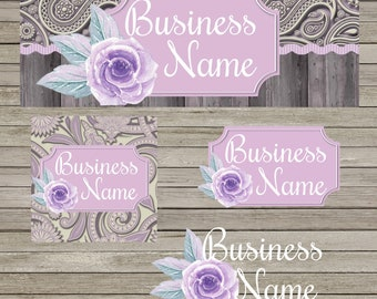 Purple Paisley Rose Facebook Business Set