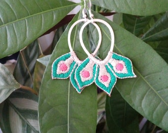 Embroidered by hand, hoop earrings silver, pink and green