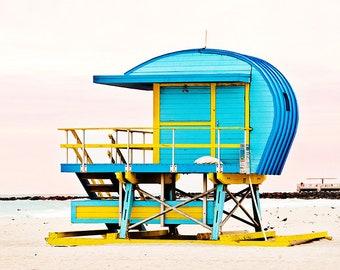 Lifeguard Stand Art Deco Beach Hut Coastal Wall Art Beach House Decor Miami Beach Sunrise Blue Aqua Beach Decor Ocean Lifeguard Tower