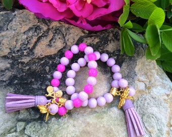 Childrens Pink and Lavendar Beaded Bracelet w/ Charms & Tassel