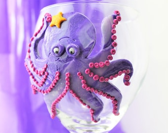 16 oz Polymer Clay Purple Octopus Wine Glass