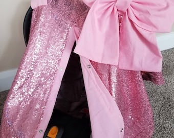 Carseat Canopy Carseat Cover Elegant Pink Sequin Pink with Large bow nursing cover car seat canopy car seat cover READY TO SHIP