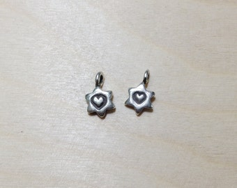 Mini heart stamp sterling silver oxidized charm 2 pc // S*21