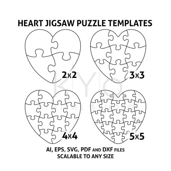 heart jigsaw puzzle templates ai eps svg pdf dxf files heart rh etsy com heart puzzle template printable heart puzzle template printable