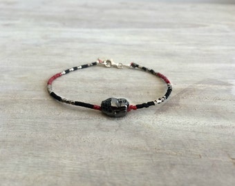 Bracelets with Miyuki Beads and Oxidized Silver Buddha Pendant, Everyday Jewelry, Silver Buddha, Yoga Mala bracelet, Healing,
