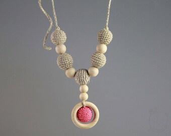 Crochet Linen Nursing Necklace Crochet Teething Necklace Breatstfeeding jewelry Shower gift