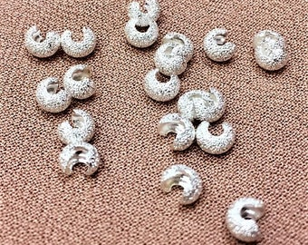 4mm Silver Stardust Crimp Cover, 20 piece pack, Silver Crimp Cover, Stardust Crimp Cover, Silver Knot Covers, Stardust Silver Crimp Covers
