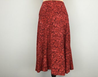 Red Skirt Floral Hawaiian Luau A Line Flare Skirt Womens Tropical Clothing Size 10 Skirt Full Skirt Hawaiian Clothing Medium Womens Clothing