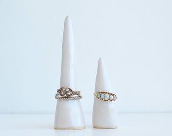 White glossy handmade ceramic ring cones, jewellery storage, ring holder, ceramic cone, ring cones, ring display, ceramic wedding gift, gift