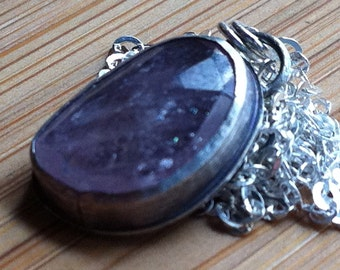 Sterling Silver and Pink Sapphire Pendant
