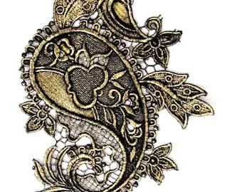 Paisley Lace Gold Foiled Paisley Lace Veiled Lace With Gold  Antique gold Imace Lace Applique