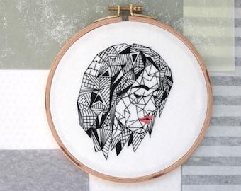"Geometric Woman in Black, Meditation, 6"" Embroidery Hoop"