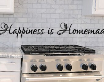 Happiness is Homemade, Vinyl Wall Decal, Home Decor, Kitchen, Dining room, Vinyl Lettering, Kitchen Decal, Homemade, Happiness, Wall decal