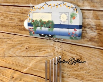 Camper Wind ChimeHand Crafted Wood Travel Trailer Camper Wind Chime Hand Painted-Indoor/Outdoor-Fathers Day-Mothers Day-One of a Kind