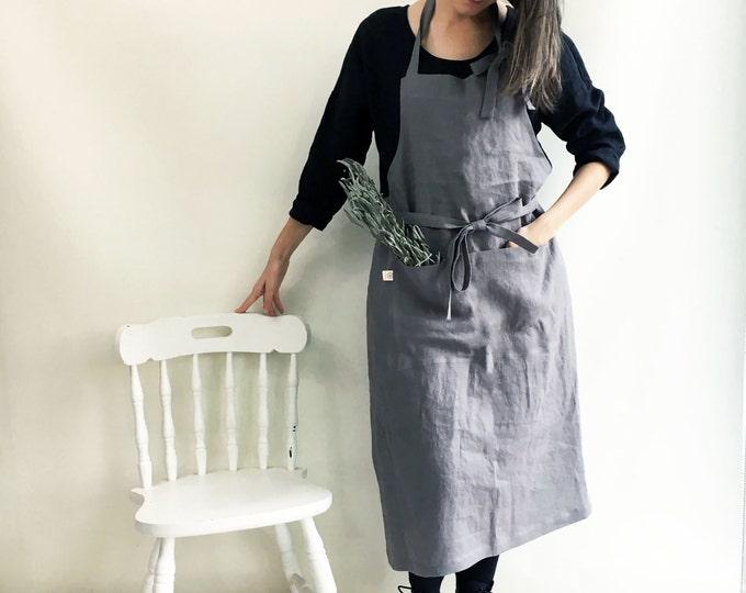 Full Apron from 100% linen, Full Linen Apron, Womens Apron, Mens Apron, Chef Apron, Long Linen Apron, Kitchen Apron, Crafts Apron, Handmade